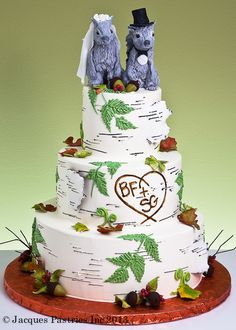 rustic wedding cake with squirrel topper Themed Wedding Cakes, Wedding Cake Rustic, Fall Wedding Cakes, Themed Cakes, Wedding Ideas, Wedding Stuff, Squirrel Cake, Squirrel Food, Birch Tree Cakes