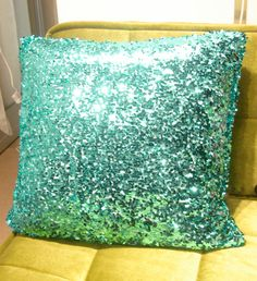 I am going to try and find sparkly aqua paper that looks like this pillow. My New Room, My Room, Cute Pillows, Throw Pillows, Kitchen Sets For Kids, Sequin Crafts, Glitzy Glam, Mermaid Bedroom, Chula