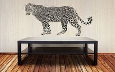 Wall Vinyl Sticker Decals Mural Room Design Art Decor Leopard Animal Predator Jungle Tail Spots mi111 by RoomDecalsAndDesigns on Etsy