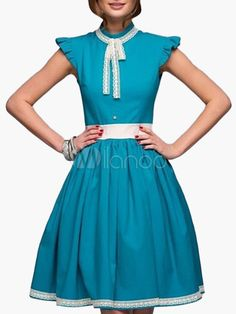 Two-Tone Piping Knotted Pleated Flare Dress - Milanoo.com