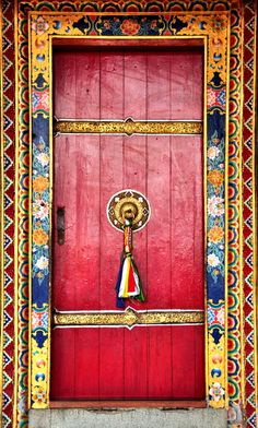 Red door at the Rumtek Monastery in Sikkim, India Door Knockers, Door Knobs, Door Handles, Cool Doors, Unique Doors, Entrance Doors, Doorway, Doors Galore, Door Gate