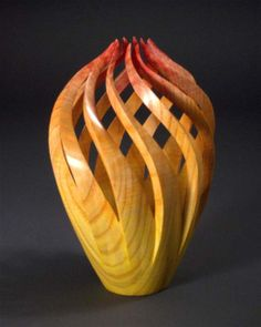"""""""Eternal Flame"""" curly ash, dye, lacquer by Michael Foster"""