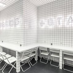 Urban Jungle meets Futuristic Grids at Orang+Utan Vegetarian Bar in Kiev, Ukraine Photo © AKZ Architectura. Interior Design Blogs, Cafe Restaurant, Restaurant Design, Veggie Bars, Orang Utan, Modern Bar, White Tiles, Cafe Design, Commercial Design