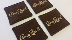 Check out this item in my Etsy shop https://www.etsy.com/listing/201499283/crown-royal-maple-brown-fabric-coasters
