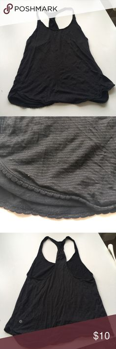 Lululemon black stripe scallop racerback Seems to be a medium - too baggy on me and I fit xs/small. Guessing it's a 6 or 8. lululemon athletica Tops Tank Tops