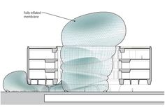Section drawing of proposed temporary inflatable pavilion at the Smithsonian Hirshhorn Museum, design by Diller Scofidio + Renfro, 2009