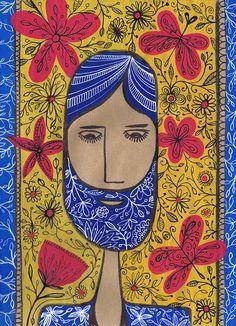 © Tasha Goddard | Bearded Blue Man in gouache and ink | www.tashagoddard.com | www.tashagoddard.myportfolio.com