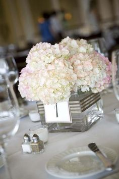 Simple hydrangea centerpiece