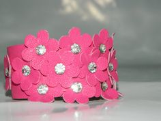 Pink Flower Leather Bracelet Leather Cuff Woman by JewelryForWoman, $15.00