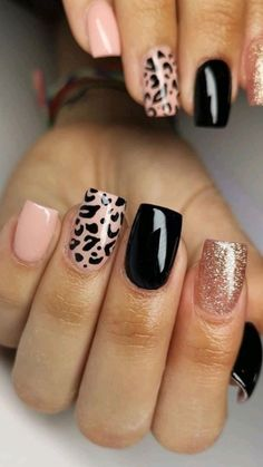 Cute Gel Nails, Love Nails, Nail Gel, Best Acrylic Nails, Acrylic Nails Designs Short, Fun Nail Designs, Cheetah Nail Designs, Gel Nail Polish Designs, Cute Simple Nail Designs