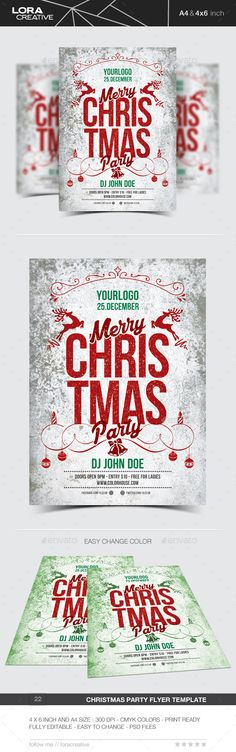 White Christmas Party Flyer  Party Flyer Flyer Template And