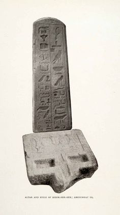 This is an original 1906 sepia halftone print of the Altar and Stele of Sebek-Her-Heb; Amenemhat III. CONDITION This 105+ year old Item is rated Near Mint / Very Fine. Light aging throughout. No creas