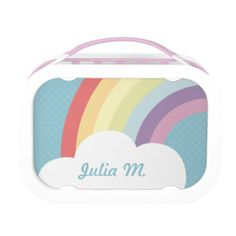 A cute customizable yubo lunchbox featuring a rainbow and a cloud on top of a blue polka-dotted background.