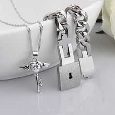 Titanium Bracelet And Angel's Heart Key Necklace Sterling Silver Set For Couple
