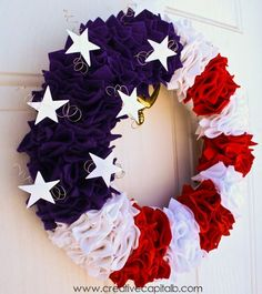 Great tutorial! I'm going to make one for me and one fit a friend this weekend! Capital B: Ruffly Patriotic Wreath Tutorial
