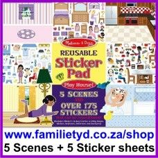 Reusable Sticker Pad ~ Playhouse >> R65. The reusable vinyl stickers in this set cling securely to the sturdy pages, then peel up easily when you're ready to make a change.