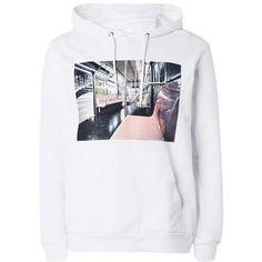 White Subway Print Hoodie ($60) ❤ liked on Polyvore featuring tops, hoodies, print top, print hoodie, hooded sweatshirt, white hoodie and patterned hoodies