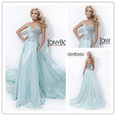 Sexy Sweetheart Light Blue Women Prom Dresses 2014 Beading Open Back Evening Floor Length Gowns Vestidos de Fiesta de Chiffon $149.99