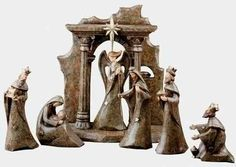 """$134.99 7-Piece Inspirational Earthy Stone Look Christmas Nativity Set - From the Inspirational Gifts Collection Item #36339  Decorative Nativity set features the sleek look of granite stone 7-piece set includes: Mary with Baby Jesus, Joseph, 3 Wise Men, Angel and a stable  Dimensions: Mary with Baby Jesus: 3.5""""L x 1.75""""W x 3.75""""H Joseph: 2.5""""L x 1.75""""W x 5.5""""H Wisemen: 4""""H - 6""""H  Angel: 2.25""""L  ..."""