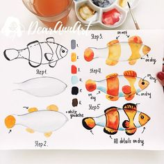 Hi ☺️❤️ My new tutorial is here and guess what? It's a cute clownfish!… Hi ☺️❤️ My new tutorial is here and guess what? It's a cute clownfish! Hope you will have fun painting it. Watercolor Painting Techniques, Watercolor Projects, Watercolour Tutorials, Watercolour Painting, Painting & Drawing, Hope Painting, Watercolor Animals, Watercolor Cards, Watercolor Water