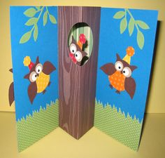 happy birthday card - SU owl punch - love the pop-out of the inside of this card - bjl