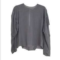Sheer Blouse Acne Studios sheer chiffon top. Worn once and in perfect condition. Slightly flowy sleeves and a beautiful blue grey color. Size 38 French. No trades :) Acne Tops Blouses