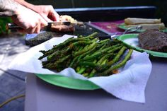 Grilled asparagus, lightly seasoned with our Veggie Shake, fresh off the Traeger.