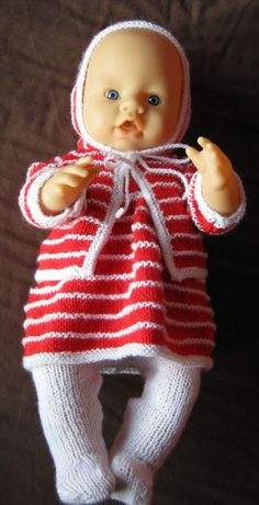 Ravelry: Dress, jacket and bonnet for 15 inch baby doll pattern by Sixties Spirit Baby Alive Doll Clothes, Baby Born Clothes, Baby Alive Dolls, Knitting Dolls Clothes, Crochet Doll Clothes, Doll Clothes Patterns, Knitted Doll Patterns, Knitted Dolls, Baby Patterns
