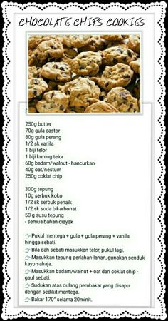 biskut Choco Chip Cookies, Almond Flour Cookies, Oat Cookies, Spicy Recipes, Baby Food Recipes, Cookie Desserts, Cookie Recipes, Peanut Butter Biscuits, Sweet Pastries