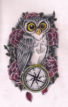 Owl carrying compass tattoo....wish I could find one of a hummingbird carrying a compass
