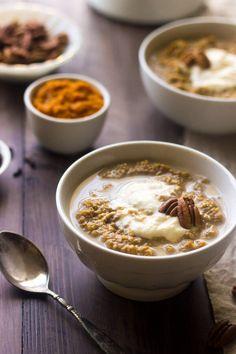 Pumpkin Breakfast Quinoa with Maple Ricotta - Your new favorite, healthy breakfast!   Julieseatsandtreats.com   #glutenfree #quinoa #recipe