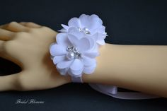 White Chiffon Flower Bracelet | Vintage Inspired Wrist Corsage | Mother of the Bride | Bridal Shower | Prom | Bridesmaid Gift | Child