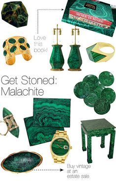 Lamshop Faux Malachite Side Table seen in the ediTORIal blog April 2012. http://torispelling.com/blog/post/get-stoned-malachite