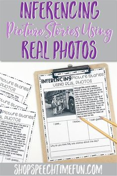 Looking for ways to work on inferencing using simple stories and pictures to help with comprehension? No prep worksheets with graphic organizers right on the page makes it easy to teach and practice this tricky skill in speech therapy.