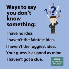 Ways to say you don't know something