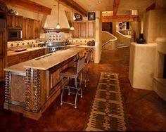 Kitchen , Stunning Mexican Kitchens : Mexican Kitchens Rustic Style With Island And Bar And Wooden Cabinets And Small Pendant Lights And Hood And Ceramic Backsplash