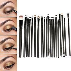 20 Stücke Professionelle Make Up Pinsel Set Puder Foundation Lidschatten Eyeliner Lippen Make Up Pinsel Werkzeug, Schwarz Mit eine Rosa Tasche