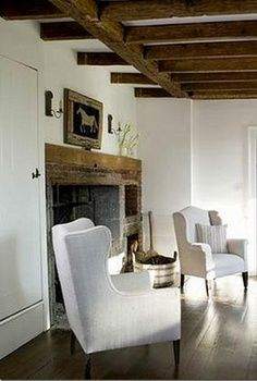 pretty white chairs | cottage living room | English cottage