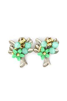 Blossom Earrings Weaved in Mint on Emma Stine Limited