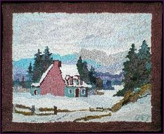 Hooked mat with mark in lower right. Rug Hooking Frames, Rug Hooking Patterns, Penny Rugs, Charlevoix, Vintage Hooks, Art Mat, Christmas Arts And Crafts, Punch Needle Patterns, Rug Inspiration
