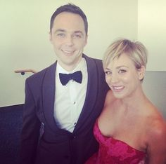 Sheldon & Penny at the Emmys. Jim Parsons has won his 4th Emmy as Sheldon Cooper for Lead Actor in a Comedy
