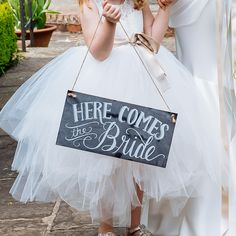 Here Comes The Bride Sign / Just Married Sign (on reverse)  – Chalkboard Style available from www.theweddingofmydreams.co.uk