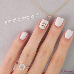 30 sugestões de unhas decoradas com esmalte branco!