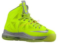 If you prefer your LeBron X's a bit more conspicuous and eye-catching, this is absolutely the colorway for you. The Nike LeBron X Volt sports searingly bright volt over the entire upper, with a bit Lbj Shoes, Nike Shoes, Sneakers Nike, Men's Shoes, Nike Wallpaper, Shoe Gallery, Popular Shoes, Newest Jordans, Nike Basketball