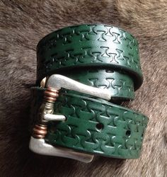Completed belt, dyed with Forest Green water-based dye from The Identity Store, Matlock, UK