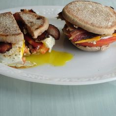 I love eggs and everything that goes with them. So I started putting different foods together with them for a quick and easy breakfast sandwich. This is my favorite! This is a meal!