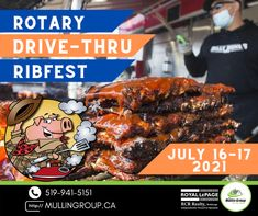 It'S BACK!!🥳🤩 This Friday/Saturday marks the 12th Annual Rotary Ribfest! Although this year it will be a drive-thru format, it is still the same delicious ribs that we know and love!!! Make sure you mark your calendars: When: Friday July 16th 4pm-8pm Saturday July 17th noon-8pm Where: Headwaters Racquet Club #mullingroup #onthemove #realestate #orangeville #OrangevilleRealEstate #royallepagercr #ribfest #orangevilleribfest #food