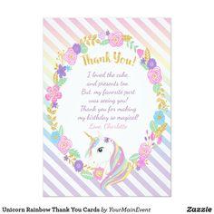 Tarjeta El arco iris del unicornio le agradece las Birthday Thank You Cards, Thank You Card Size, Custom Thank You Cards, 1st Birthday Party For Girls, Unicorn Birthday Parties, Birthday Ideas, Baby First Birthday Cake, 4th Birthday, Carousel Party