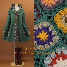 crochet motif jacket - inspiration only Crochet Hood, Crochet Motif, Knit Crochet, Crochet Patterns, Crochet Fall, Crochet Woman, Irish Crochet, Crochet Jacket, Crochet Cardigan