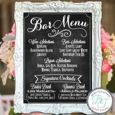 Wedding Bar Menu Chalkboard Sign  ••••••••••••••••••••••••••••••••••••••••  I will completely customize this lovely sign to fit your wedding menu.